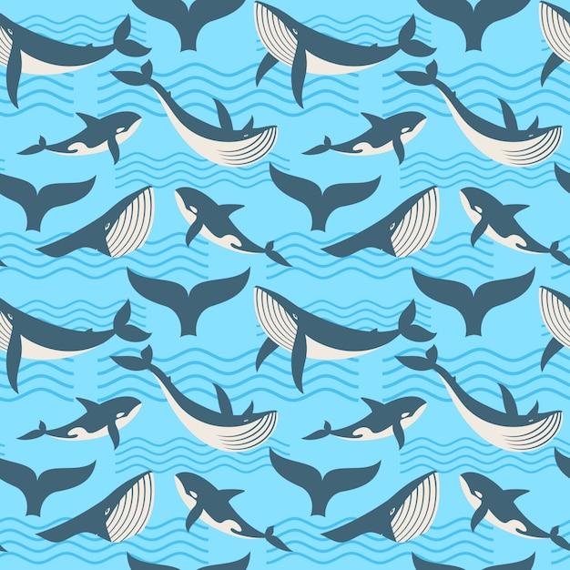 Wektorowy bezszwowy wzór z wielorybem w ocean fala Premium Wektorów
