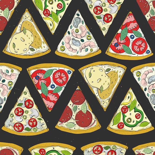 Wektorowy bezszwowy wzór z włoskiej pizzy odgórnym widokiem Premium Wektorów