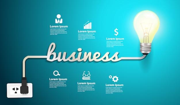 Wektorowy biznesowy inspiraci pojęcia żarówki kreatywnie pomysł Premium Wektorów