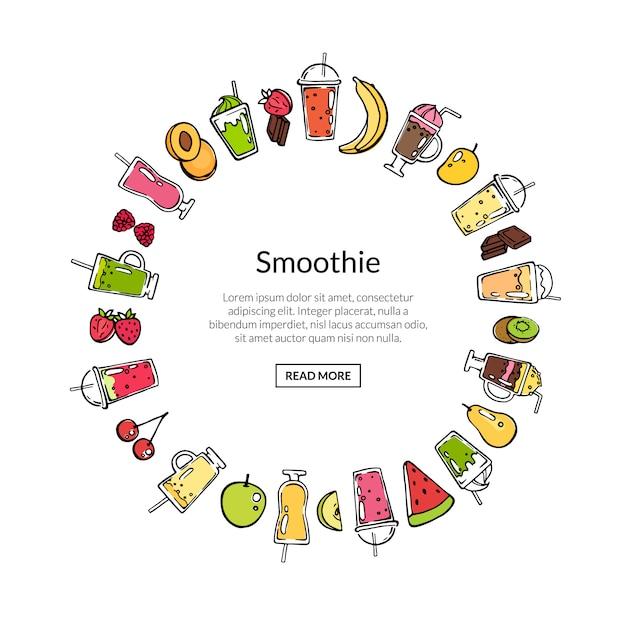 Wektorowy Doodle Smoothie W Okręgu Sztandaru Kształta Ilustraci Premium Wektorów