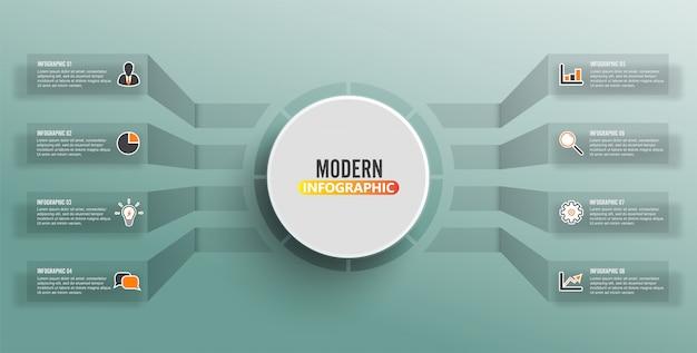 Wektorowy infographic szablon z 3d papierową etykietką, zintegrowani okręgi. koncepcja biznesowa z 8 opcjami Premium Wektorów
