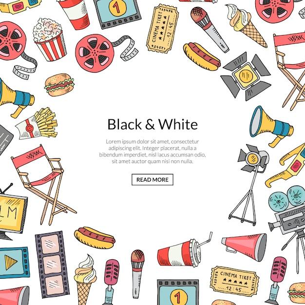 Wektorowy kinowy doodle ramy tło na bielu z teksta szablonem Premium Wektorów