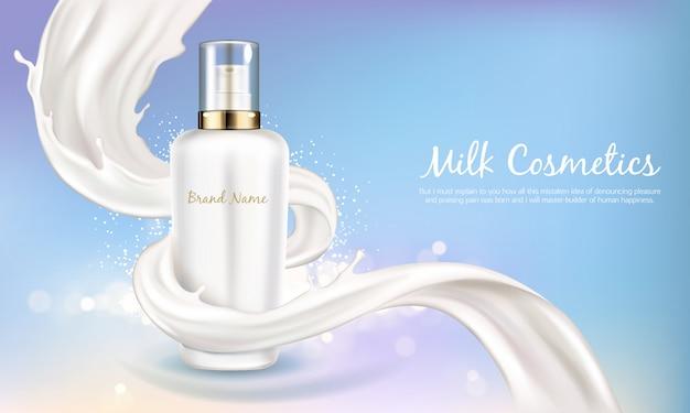 Wektorowy kosmetyczny sztandar z 3d realistyczną białą butelką dla kremu do pielęgnacji skóry lub balsamu do ciała. kosmetyk, naturalne lub organiczne kosmetyki z kremowym lub mlecznym wirem na niebieskim, błyszczącym tle Darmowych Wektorów
