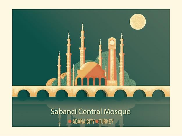 Wektorowy kreskówka punkt zwrotny najlepszy sławny islamski meczet sabanci środkowy meczet z starą zegarową wierza i kamienny most przed seyhan rzeką w adana mieście turcja. Premium Wektorów