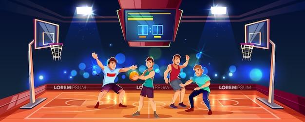 Wektorowy kreskówki tło z sportów ludźmi bawić się grę zespołową na koszykówki arenie. kryty plac zabaw Darmowych Wektorów