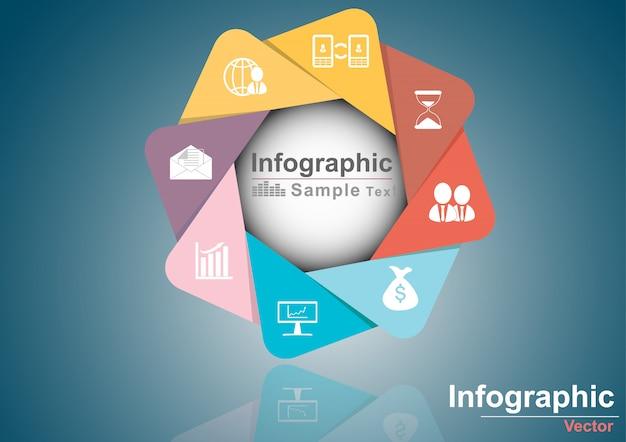 Wektorowy okręgu infographic szablon dla biznesu Premium Wektorów