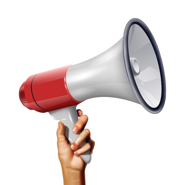 Wektorowy Realistyczny Głośnik W Ręce Młody Człowiek Premium Wektorów