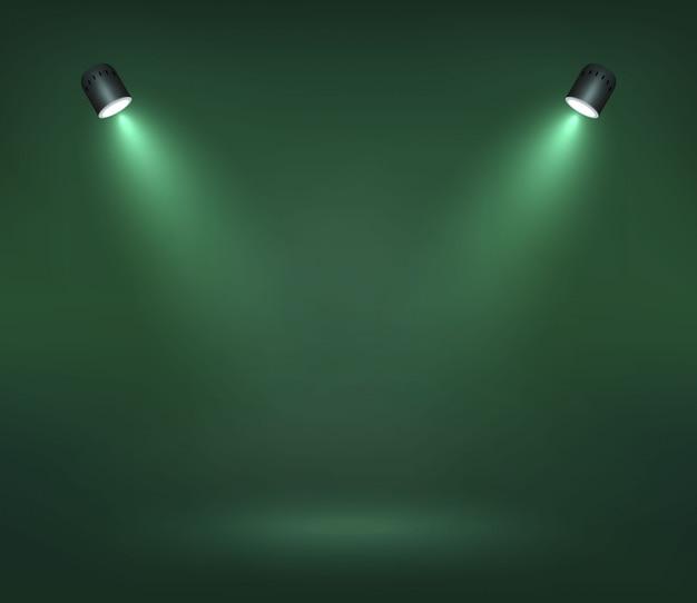 Wektorowy światło reflektorów na sceny ilustraci Premium Wektorów
