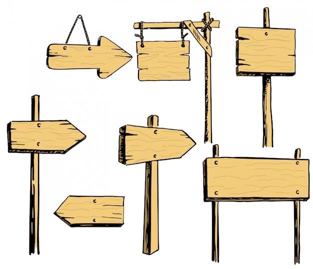 Wektorowy ustawiający drewniani znaki Premium Wektorów