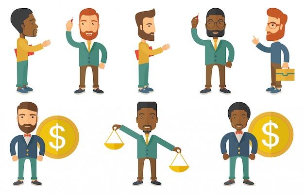 Wektorowy Ustawiający Ilustracje Z Ludźmi Biznesu. Premium Wektorów