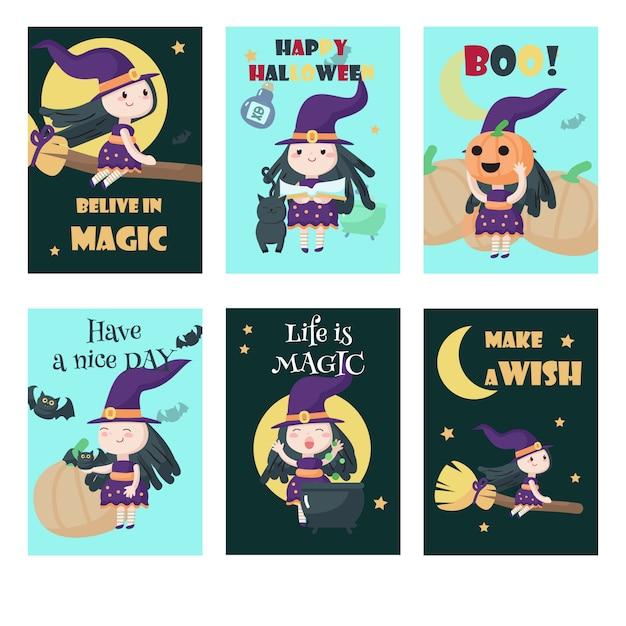 Wektorowy Ustawiający Karty Z ślicznymi Małymi Halloweenowymi Czarownicami Premium Wektorów