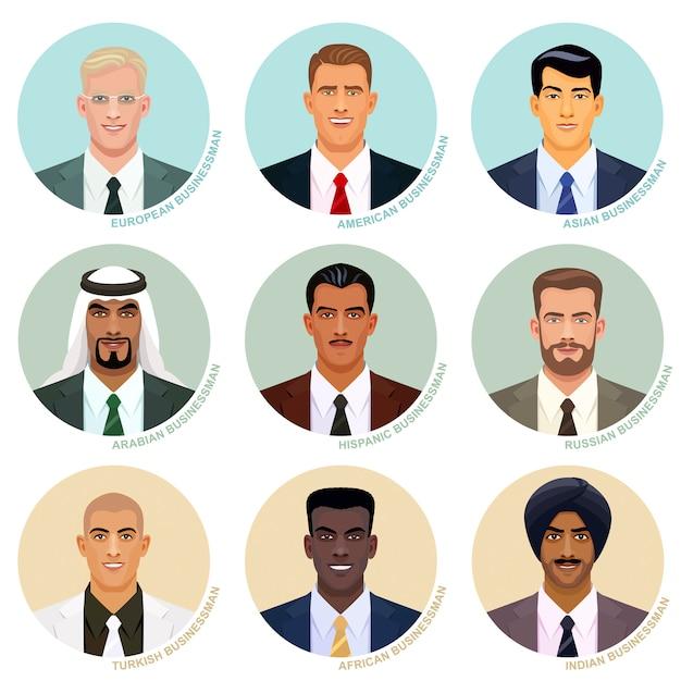 Wektorowy Ustawiający Międzynarodowi Biznesmenów Portrety. Przystojni Męscy Awatary. Twarze Różnych Narodów. Kaukascy, Azjatyccy, Indyjscy I Inni Etniczni Użytkownicy W Okrągłych Ramkach. Premium Wektorów