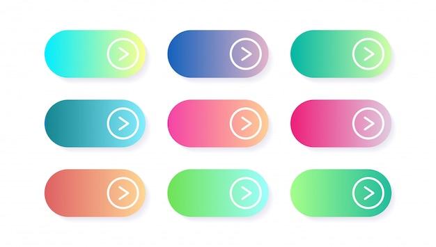 Wektorowy Ustawiający Nowożytni Gradientowi App Lub Gry Guziki. Przycisk Web Interfejsu Użytkownika, Projektowanie Materiałów Premium Wektorów