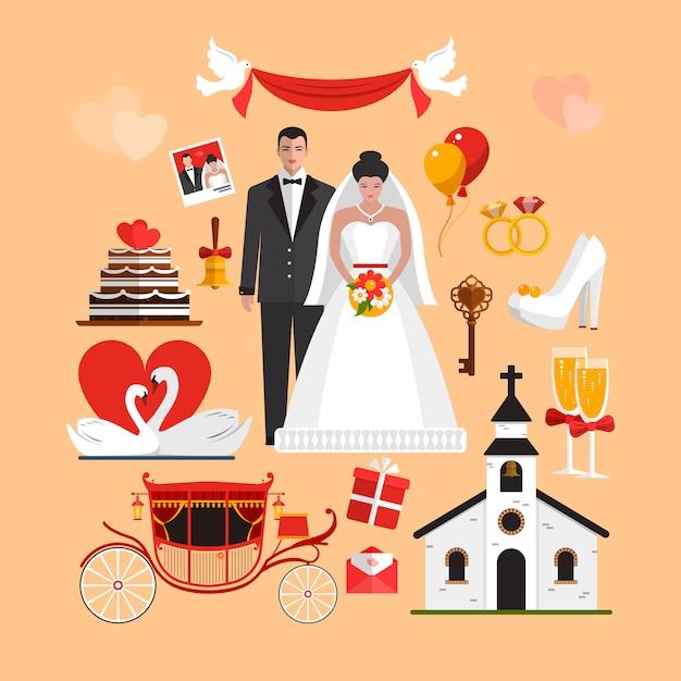 Wektorowy ustawiający ślubna ceremonia odizolowywał przedmioty. elementy projektu w stylu płaskiej. Premium Wektorów