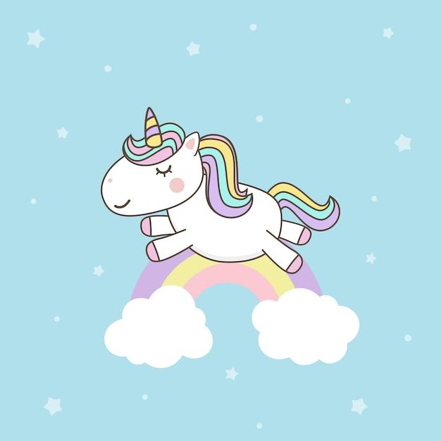 Wektory cute unicorn cartoon character z pastelową tęczą. kawaii filly unicorn Premium Wektorów