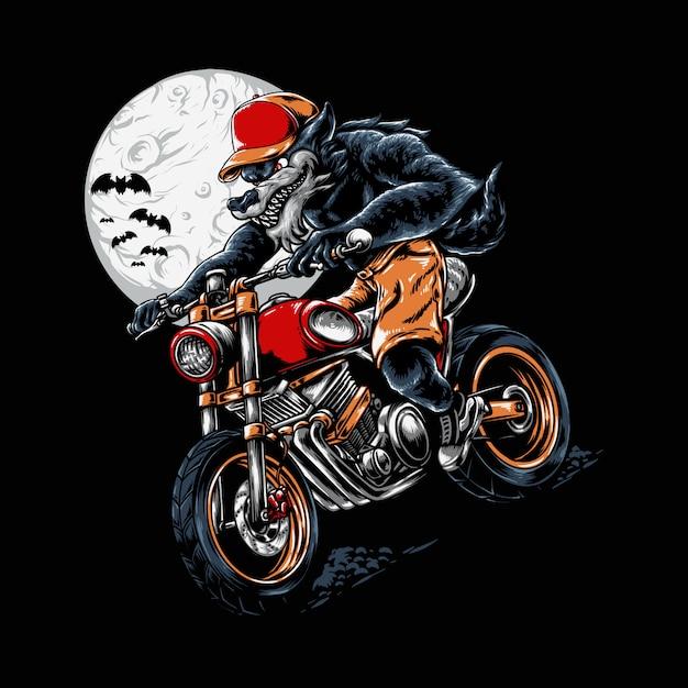 Werewolf riding halloween illustration Premium Wektorów