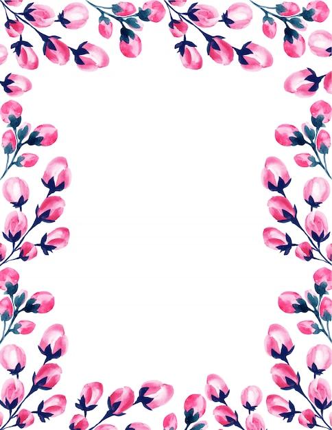 Wesele Akwarela Różowy Kwiatowy Ramki. Darmowych Wektorów