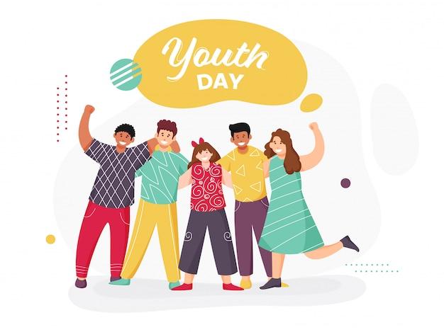 Wesoła Grupa Młodych Chłopców I Dziewcząt, Która Pozuje Do Robienia Zdjęć Z Okazji Dnia Młodzieży. Premium Wektorów