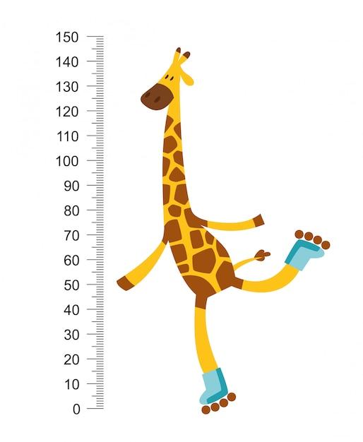 Wesoła Zabawna żyrafa Na Rillerze Z Długą Szyją. Premium Wektorów
