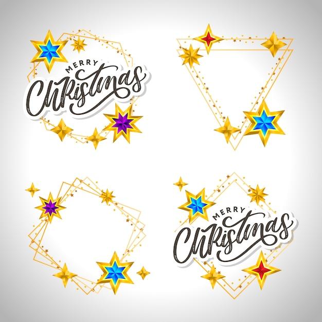 Wesołe Kartki świąteczne Z Ręcznie Rysowane Napis I Gwiazdy Na Ciemnym Tle. śliczne Wakacje Złote Tło Ramki Premium Wektorów