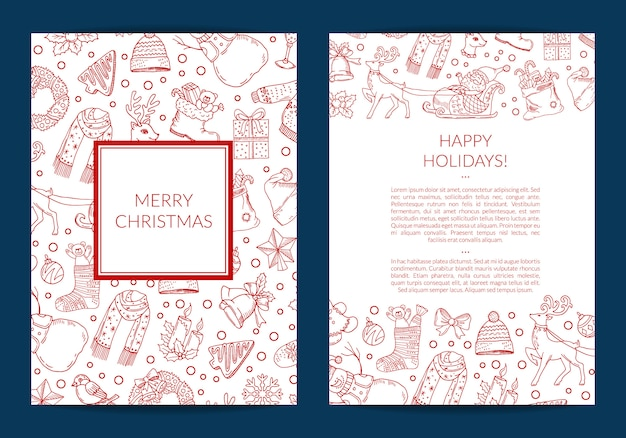 Wesołe Kartki świąteczne Premium Wektorów