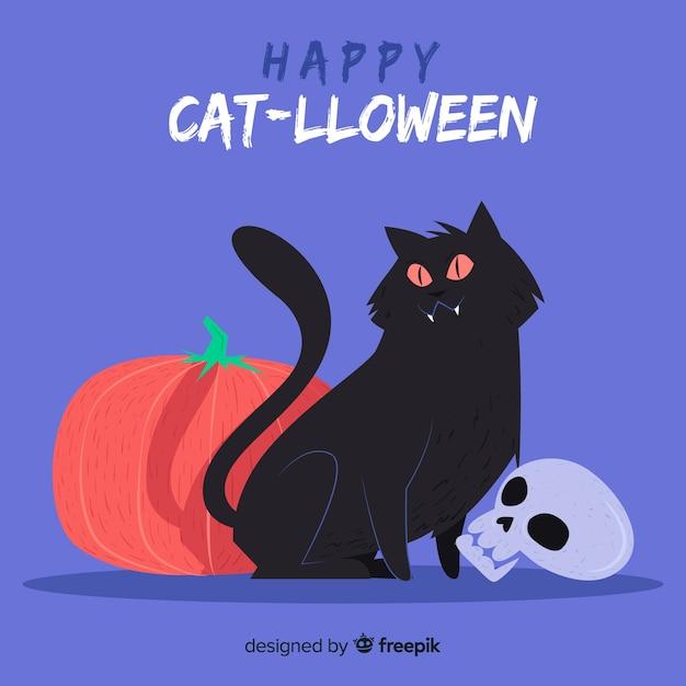 Wesołego halloween z ładny ręcznie rysowane kota Darmowych Wektorów