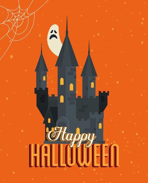 Wesołego Halloween Z Zamkiem Nawiedzonym Premium Wektorów