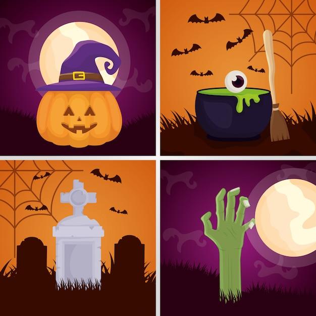 Wesołego halloween zestaw ciemny s Darmowych Wektorów