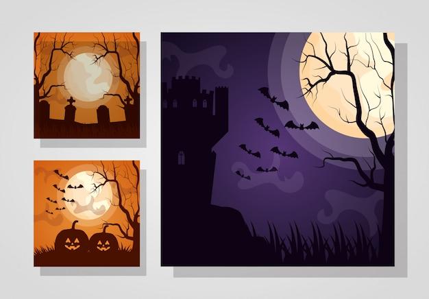 Wesołego halloween zestaw ciemnych kart Darmowych Wektorów