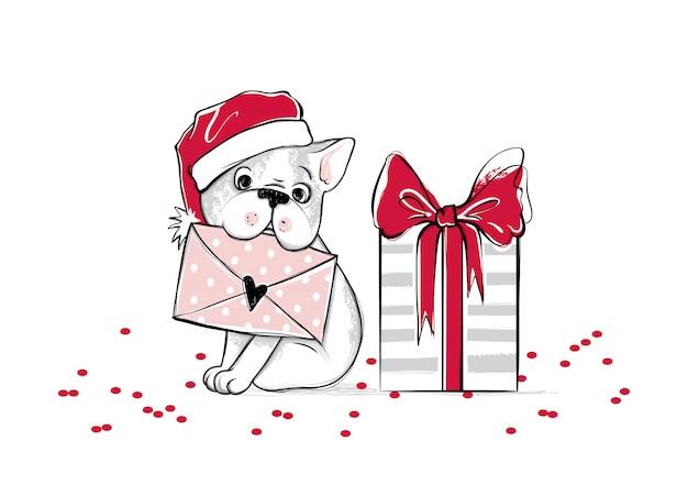 Wesoło bożych narodzeń ilustracja z śmiesznym psem Premium Wektorów