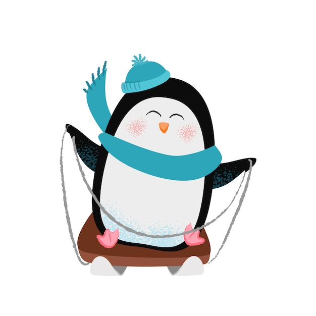 Wesoły kreskówka pingwina w szaliku i kapelusz sankach Darmowych Wektorów