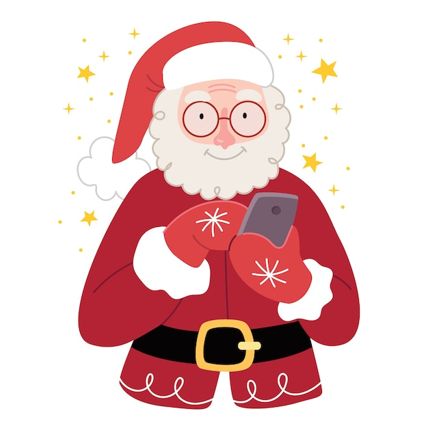 Wesoły święty Mikołaj Patrzy W Telefon, Koncepcja Prezentów Noworocznych Online. Premium Wektorów