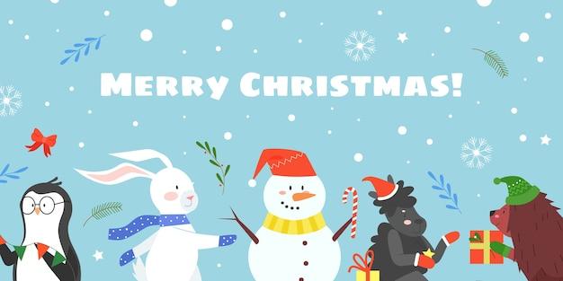 Wesołych świąt Bożego Narodzenia Celebracja Płaska Ilustracja Wektorowa, Kreskówka Towarzyszów Zwierząt Wesołych świąt Premium Wektorów