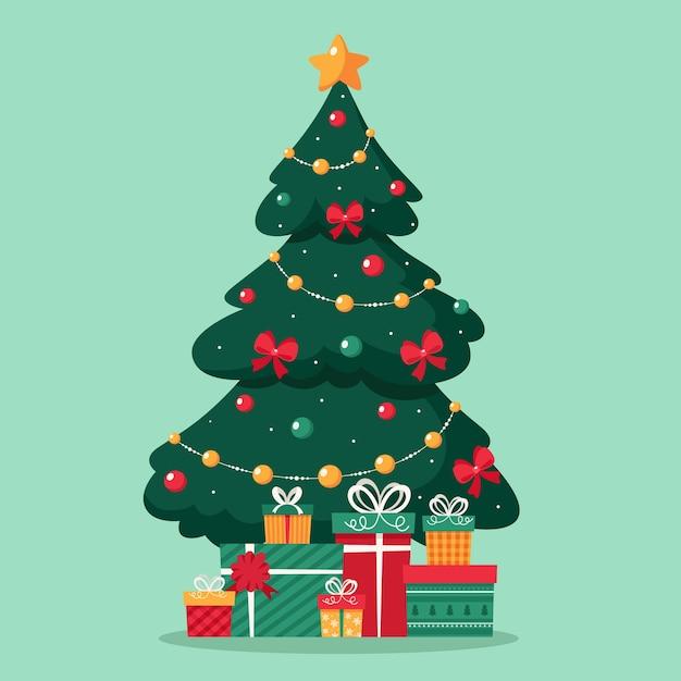 Wesołych świąt Bożego Narodzenia. Choinka Z Prezentami. Premium Wektorów