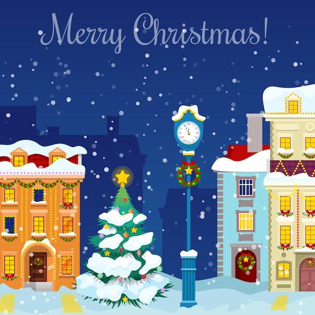 Wesołych świąt Bożego Narodzenia Gród Ze śniegu, Domy I Choinkę Z życzeniami. Premium Wektorów