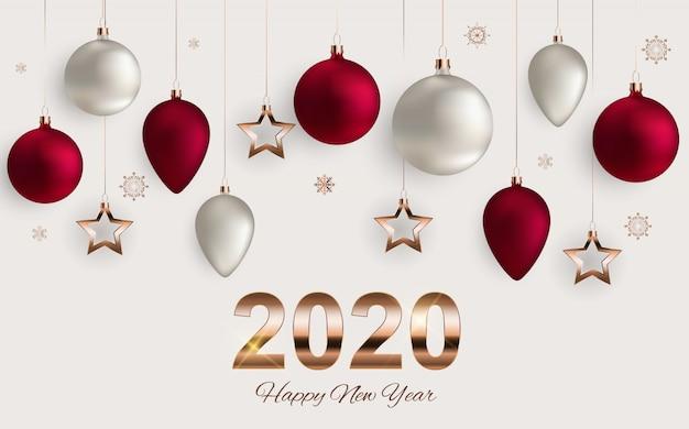 Wesołych świąt Bożego Narodzenia I Nowego Roku Tło Premium Wektorów