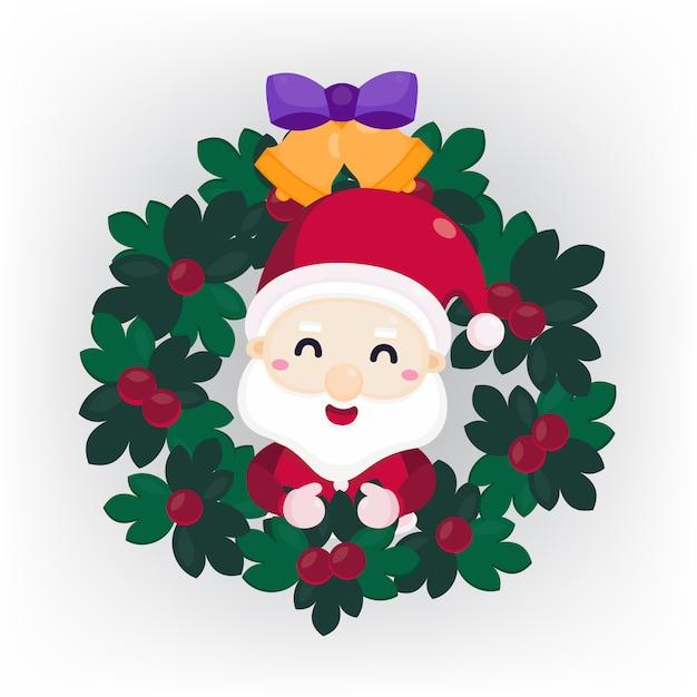 Wesołych świąt Bożego Narodzenia Kartkę Z życzeniami Z Mikołajem W Boże Narodzenie Wieniec Premium Wektorów