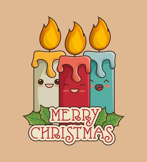 Wesołych świąt Bożego Narodzenia Kartkę Z życzeniami Ze świecami Darmowych Wektorów