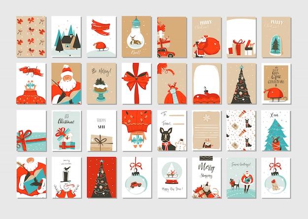 Wesołych świąt Bożego Narodzenia Kartki Z życzeniami Premium Wektorów