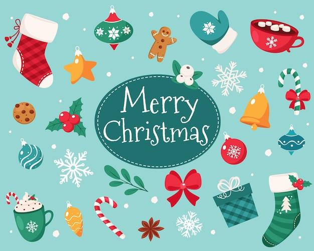 Wesołych świąt Bożego Narodzenia. Kolekcja Elementów świątecznych. Premium Wektorów