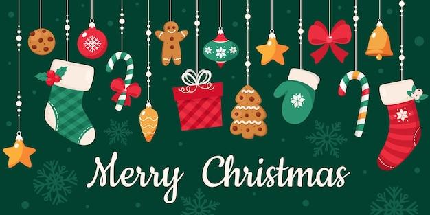 Wesołych świąt Bożego Narodzenia. Kolekcja Ozdób Choinkowych. Premium Wektorów