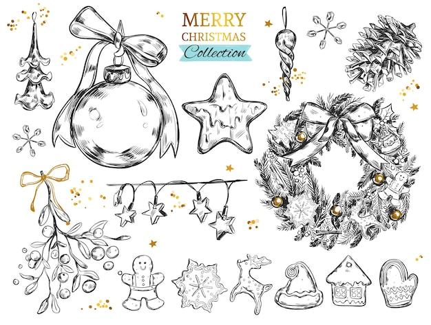 Wesołych świąt Bożego Narodzenia Kolekcja Z Ręcznie Rysowane Ilustracje Premium Wektorów