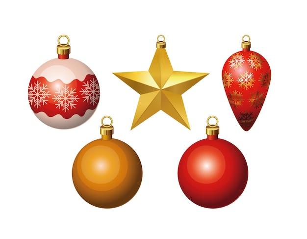 Wesołych świąt Bożego Narodzenia Kule Scenografia Premium Wektorów