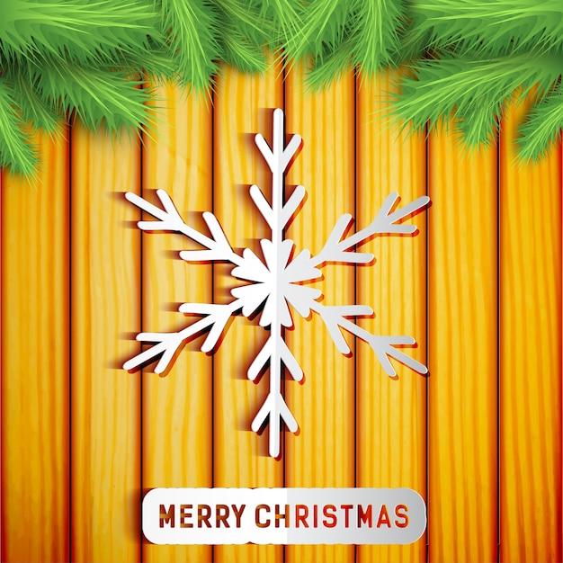 Wesołych świąt Bożego Narodzenia Lekka Karta Z Gałęziami Jodły Zielony Płatek śniegu Na Drewnie Darmowych Wektorów