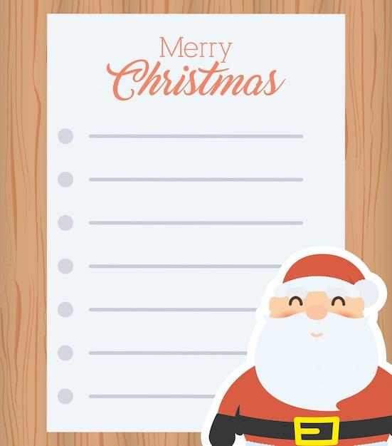Wesołych świąt Bożego Narodzenia List Z Mikołajem Darmowych Wektorów