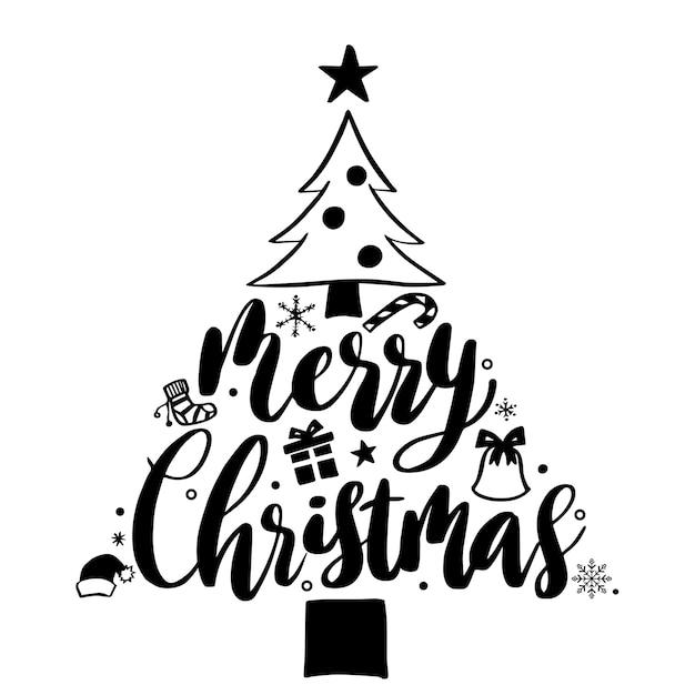 Wesołych świąt Bożego Narodzenia Napis I Choinka Premium Wektorów