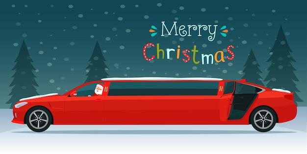 Wesołych świąt Bożego Narodzenia Napis I Czerwona Limuzyna Z Mikołajem Premium Wektorów