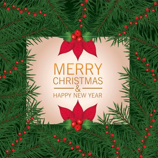 Wesołych świąt Bożego Narodzenia Napis Karty Z Ilustracji Ramki Kwiaty I Liście Premium Wektorów