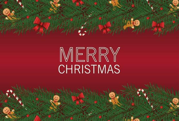 Wesołych świąt Bożego Narodzenia Napis Karty Z Kokardkami I Imbirowym Człowiekiem W Liście Ramki Ilustracja Premium Wektorów