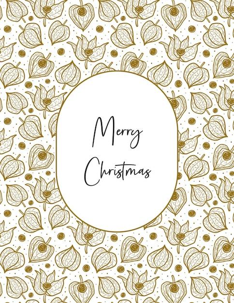Wesołych świąt Bożego Narodzenia Napis Na Ramie Z Zimową Wiśnią Physalis Premium Wektorów